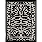 D&H 1'9'' x2'11 Black Grey Zebra Stripes Printed Area Rug, Indoor Graphical Pattern Living Room Rectangle Carpet, Africa Themed, Soft Synthetic Material, Exotic Jungle Zoo Safari Outback