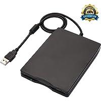 "Techno Hight® Floppy Drive 3.5"" USB External Floppy Disk Drive Portable 1.44 MB FDD USB Drive Plug and Play for PC Windows 10 7 8 Windows XP Vista Mac Black - No External Driver,Plug and Play"