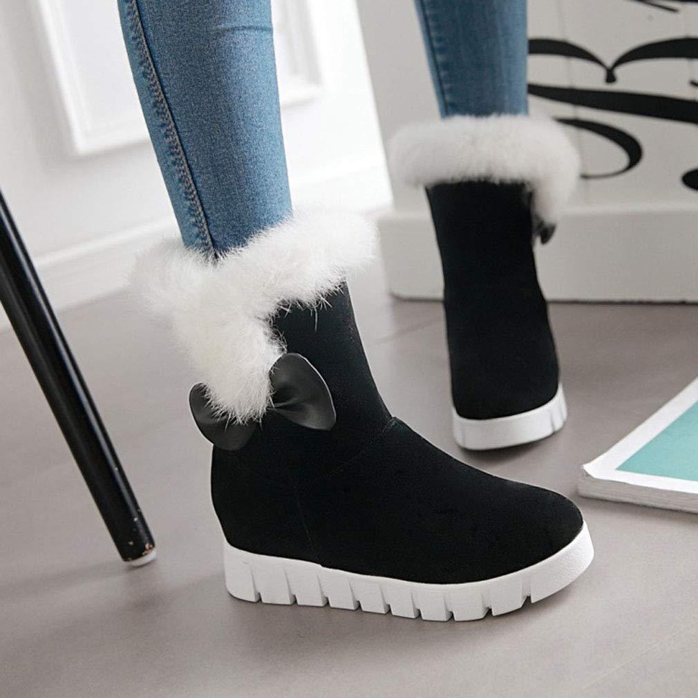 Hy Hy Hy 2018 Frauen Schnee Stiefel Wildleder Winter Slip-Ons Dicke Unterseite Bowknot Stiefelies Damen Große Größe Plus Cashmere Skiing Schuhe (Farbe   Schwarz Größe   34) 3d9516