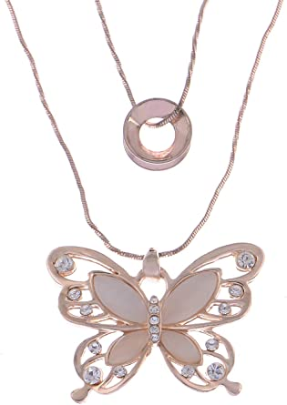 Butterfly Pendant Necklace Rhinestone Chain Women Shine Crystal Rose Gold Silver