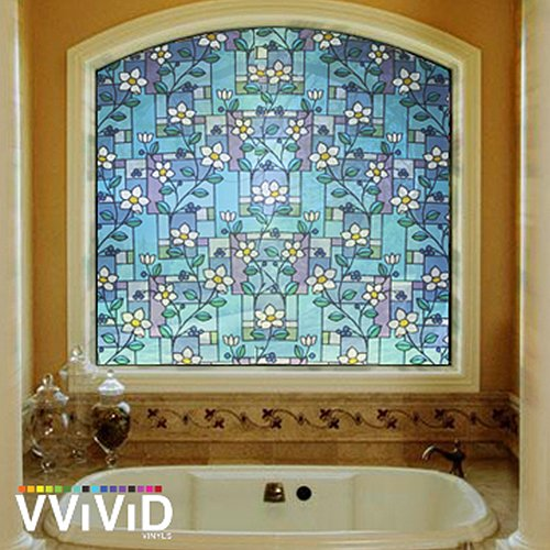 - VViViD Daisy Tile Mosaic Floral Theme Frosted Privacy Decorative Vinyl Window Decal Film for Bathroom, Kitchen, Home, Office DIY Easy to Install (17.75