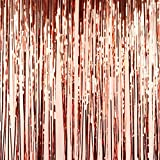 Gold Shower Curtain Andaz Press Rose Gold Foil Fringe Party Door Curtain, 2-Pack, 6-Feet Total Width x 8-Feet Height, Shiny Metallic Copper Champagne Themed Bridal Shower Supplies