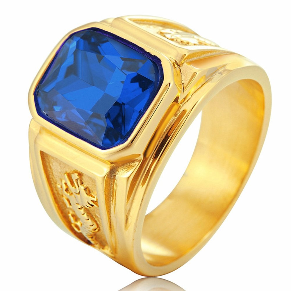 SAINTHERO Men's Vintage Stainless Steel Wedding Band Ring Gold Double Dragon Created Stone Hip-hop Jewelry Rings Blue Size 9