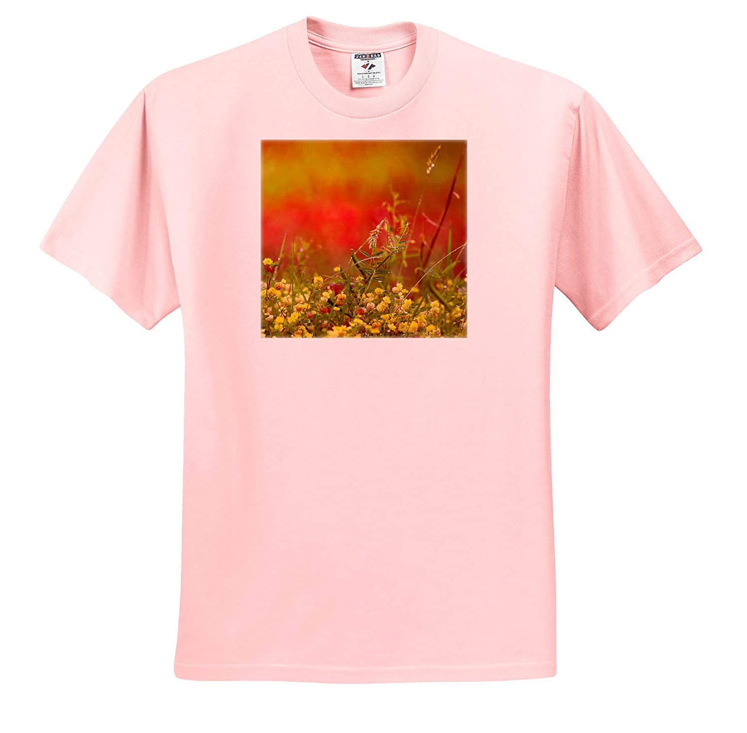 - T-Shirts Nature Photograph of a Field Covered in Weeds and Tiny Yellow Flowers 3dRose Stamp City