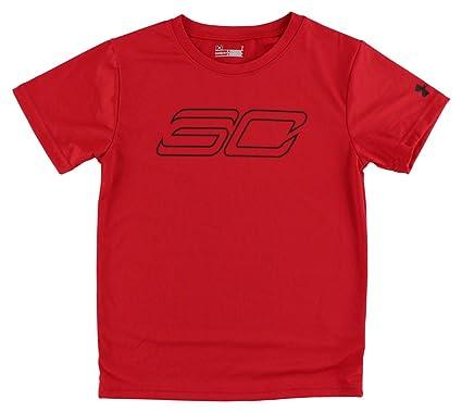 fe7af9233 Amazon.com: Under Armour Boys Steph Curry Short Sleeve Shirt Red: Clothing