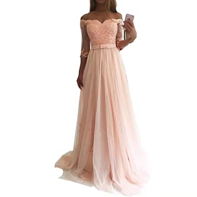 DingDingMail Elegant Prom Dresses 2018 Long Pink Lace Appliques Half Sleeves Evening Gowns