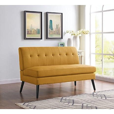 Modern Mid Century Loveseat, Linen Upholstered Living Room Sofa Armless  Chair, 34.3H