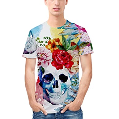 ac6138431582 Men and Women Lovers Hip-hop Loose Large Size Street Style Blouse Floral 3D  Pattern Short Sleeve T-Shirt