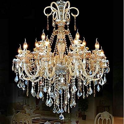Generic 18 Lights Crystal Chandelier Ceiling Fixtures Pendant Lamp Island Lights Color Cognac