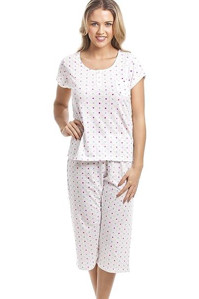 Set de pijama con pantalón pirata - Mezcla de algodón - Estampado de lunares Rosa multicolor 38/40: Amazon.es: Ropa y accesorios