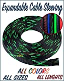 Paradise Harbor 3/4'' x 50 FT Black&Green Expandable Braided Cable Sleeving Wire Cable Sleeving Wire Loom Wire Tubing Cable Tubing