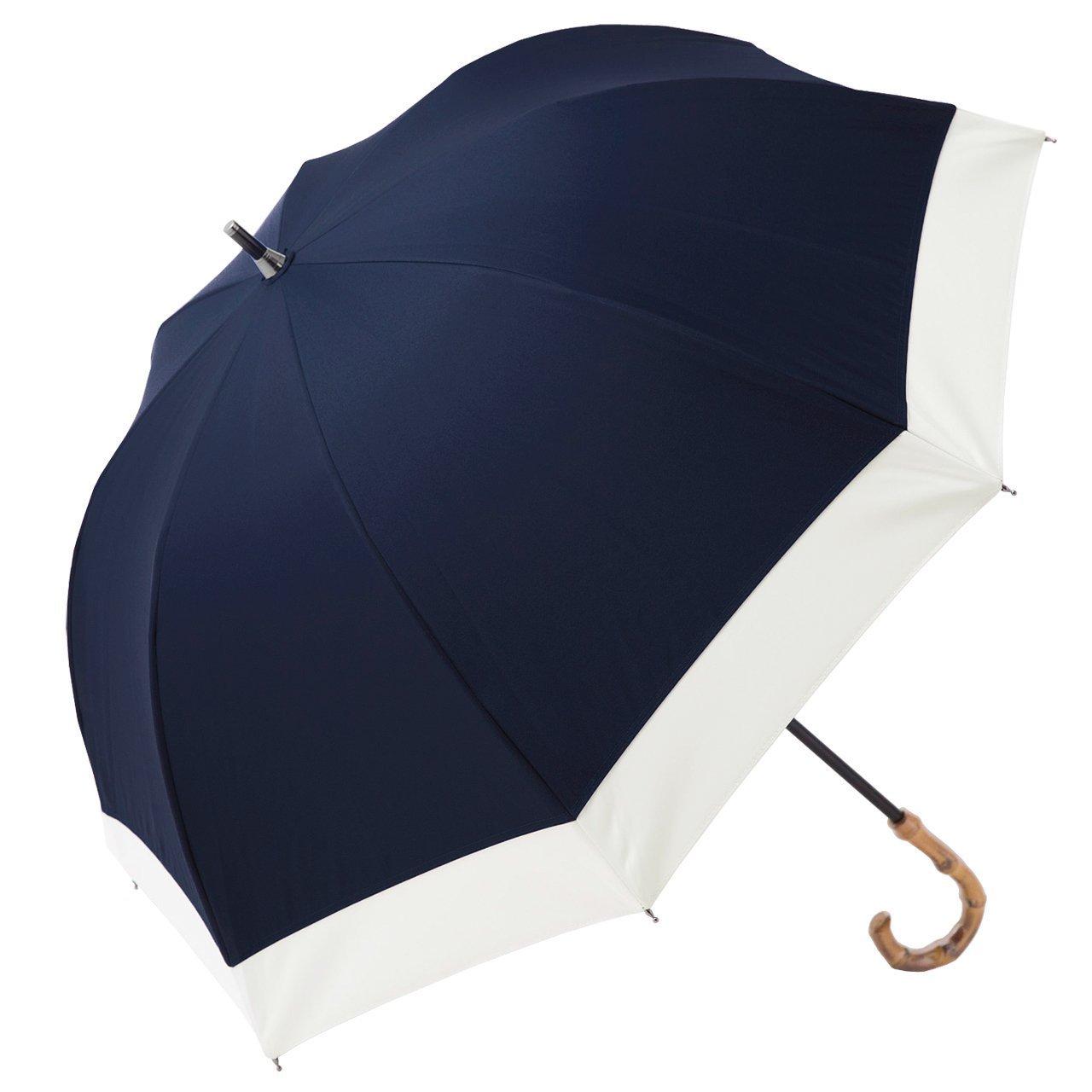 【Rose Blanc】100%完全遮光 日傘 レディース ショートサイズ コンビ プレーン 50cm (ネイビー×アイボリー) B07BZGZXBMネイビー×アイボリー