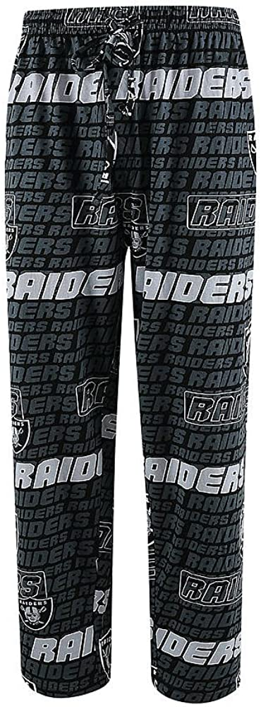 NFL Team Apparel Oakland Raiders Adult Medium All Over Logos Sleep Pajamas Pants Sleepwear - Las Vegas