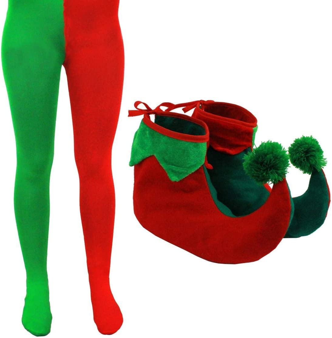 NEW LADIES MENS CHRISTMAS GIFT  ELF HAT SHOES RED GREEN TIGHTS ACCESSORIES SET