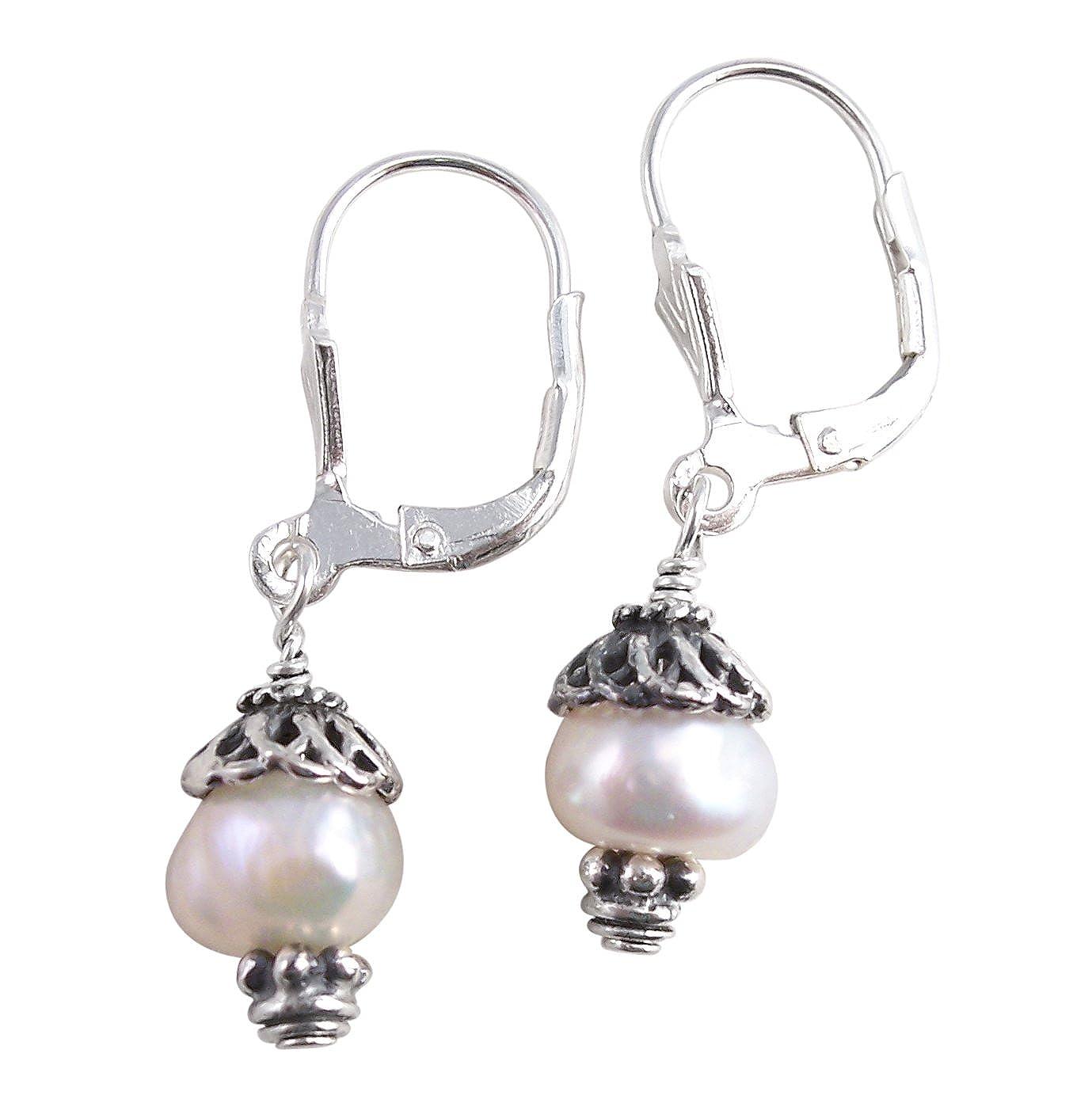 Sterling Silver Laura Pearl Leverback Drop Earrings Sosi B. E73LB