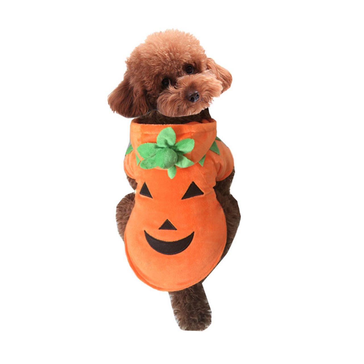 Mogoko Dog Cat Halloween Pumpkin Costume,Pet Cosplay Costumes,Puupy Autumn Winter Warm Outfit Clothes Fleece Hoodie
