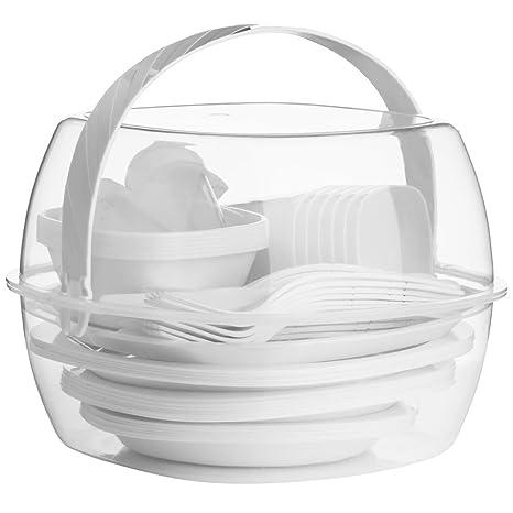 PICNIC - plástico 51 piezas Picnic/barbacoa placa/cubiertos/Set - taza blanca