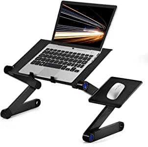 Ejoyous - Mesa de Escritorio para Ordenador portátil, Ajustable a 360 Grados y Plegable, con 2 Ventiladores incorporados y Plataforma de ratón, Color Negro: Amazon.es: Electrónica