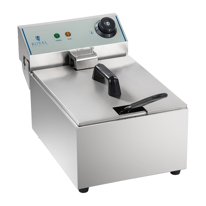 Royal Catering Friggitrice Professionale Friggitrice Elettrica RCEF-10EY-ECO (10 L, 3.200 Watt, 230 V, Acciaio inox)