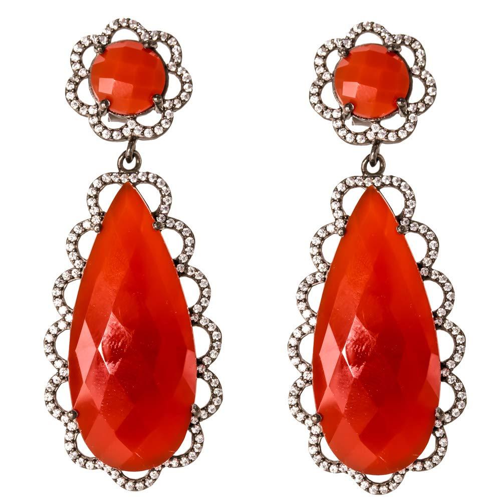 Girls 925 Stearling Silver Earrings Best Gifts For Her Black Plated Earrings,CZ Earrings For Women Cubic Zirconia Earrings Gemstone Bezel Earrings Beautiful And Stylish Dangle Earrings for Women