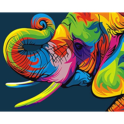 iFymei Paint By Number Kits Paintworks Acrylic DIY Oil Painting for Kids and Adults Beginner Animals Canvas ( Elephants ): Toys & Games [5Bkhe0506535]