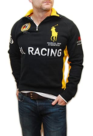 Polo Ralph Lauren Mens Big Pony Germany Racing Sweatshirt Black Yellow Small
