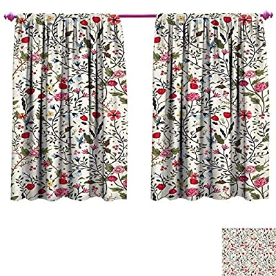 Floral Waterproof Window Curtain Vibrant Colored Complex Image Birds with Roses Leaves and Polka Dots Nature Scenery Decorative Curtains for Living Room W55 x L39 Multicolor