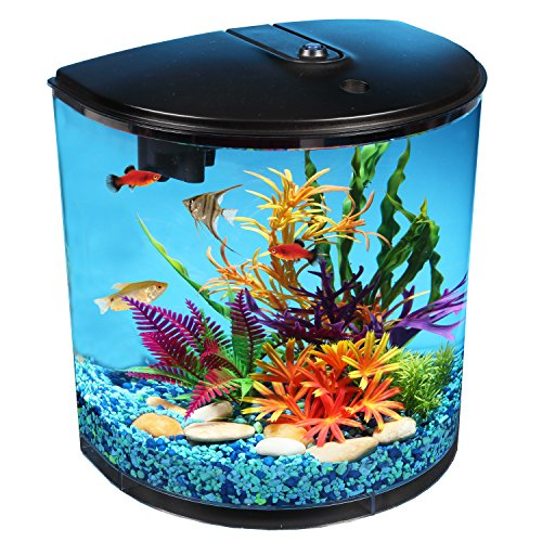 Goldfish Aquarium Filters (AquaView 3.5-Gallon Fish Tank with Power Filter and LED Lighting)