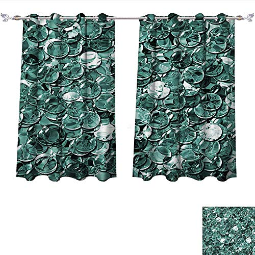 Qinqin-Home Waterproof Window Curtain Crystal Clear Balls Coins Pattern Never Ending Liquid Objects Bright Monochrome Design Teal Blackout Draperies for Bedroom (W55 x L45 -Inch 2 Panels)