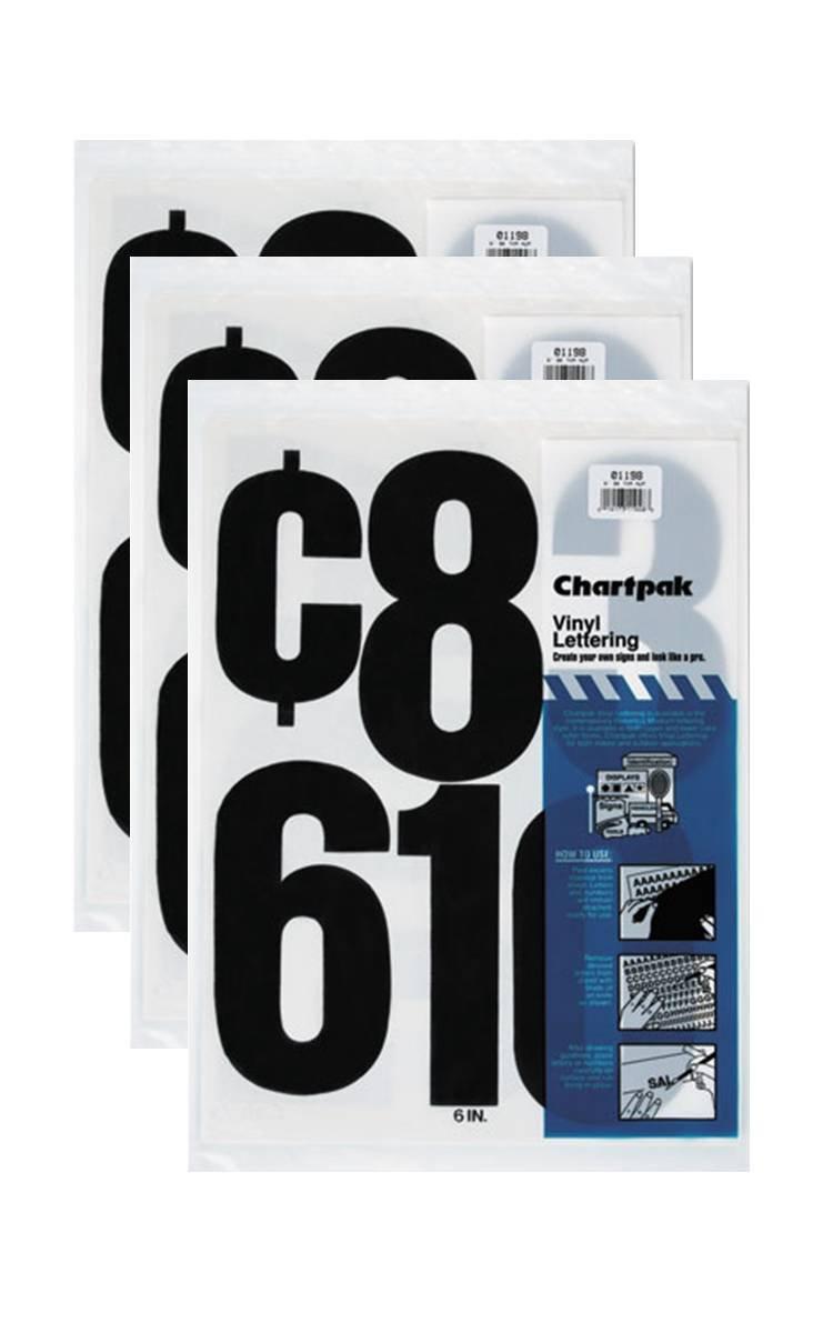 Chartpak 6-inch Black Stick-on Vinyl Numbers (01198), 3 PACKS