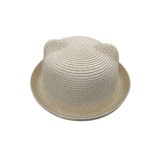 a9fcba04166 Skyingfly Summer Spring Women Lady Straw cat Ears Shade Sun hat Beach Hat ( Beige)