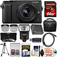 Panasonic Lumix DMC-GX85 4K Wi-Fi Digital Camera & 12-32mm Lens (Black) with 64GB Card + Case + Flash + Battery + Tripod + Tele/Wide Lens Kit