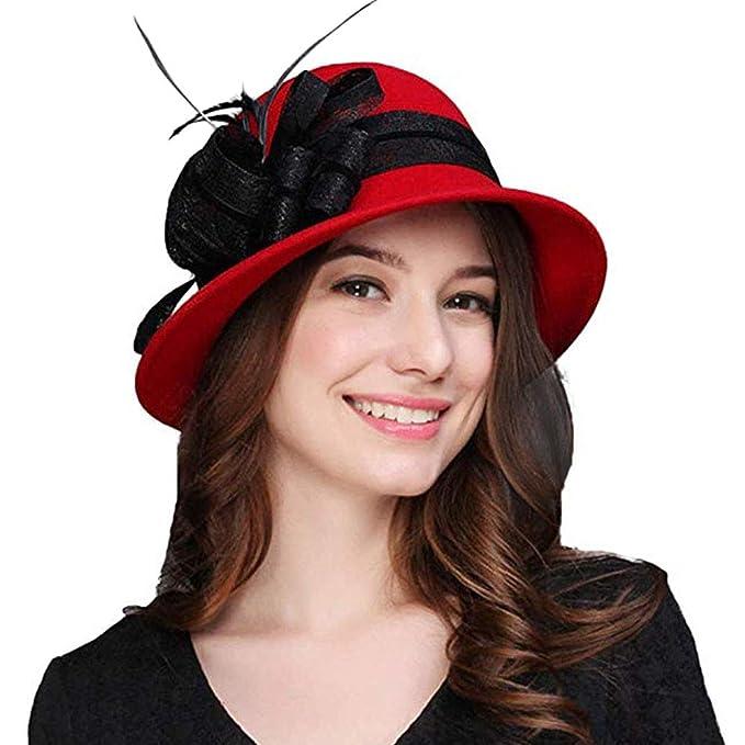 62186f408d0 FADVES Winter Bowknot Fedora Hats Felt Cloche Hat 100% Wool Wide Brim  Bucket Cap Black at Amazon Women s Clothing store