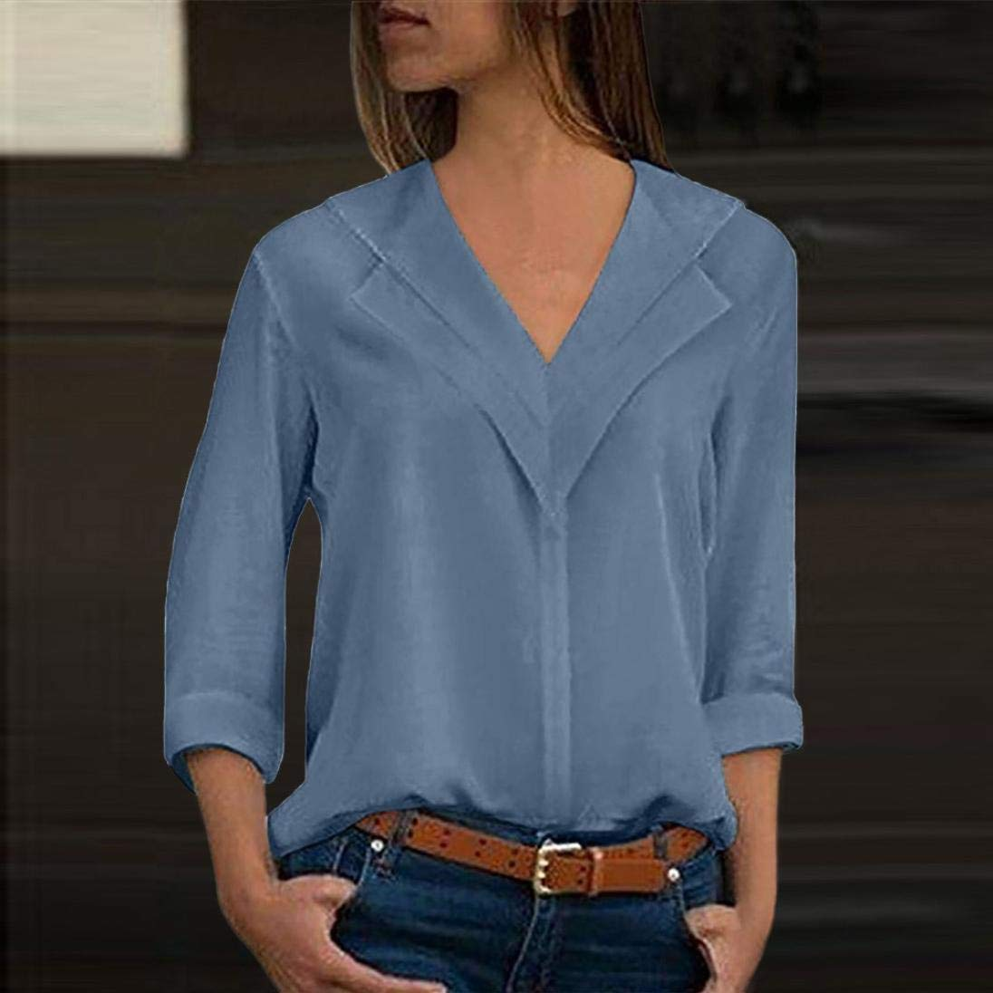 ❤ Blusa con Manga de chifón para Mujer, Camiseta sólida de Moda Office Ladies Plain Tops Manga Larga Absolute: Amazon.es: Ropa y accesorios