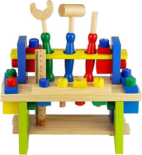 Nuheby Werkzeug Werkbank Kinder Werkzeugkasten Holz Multifunktionale Rollenspiel Spielwerkbank Padagogisches Spielzeug Ab 3 4 5 6 Jahren Junge Madchen 42 Stuck Amazon De Spielzeug