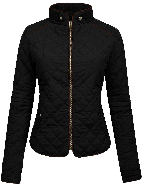 NE PEOPLE Womens Lightweight Quilted Zip Jacket, Medium, NEWJ22BLACK NEWJ22-BLACK-M