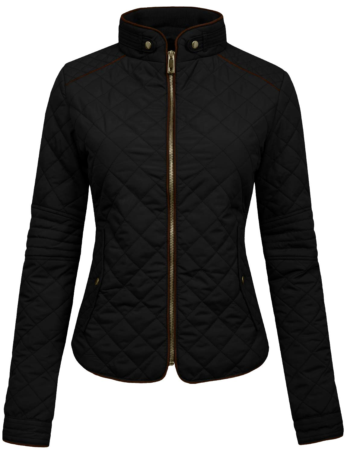 NE PEOPLE Womens Lightweight Quilted Zip Jacket, Small, NEWJ22BLACK by NE PEOPLE