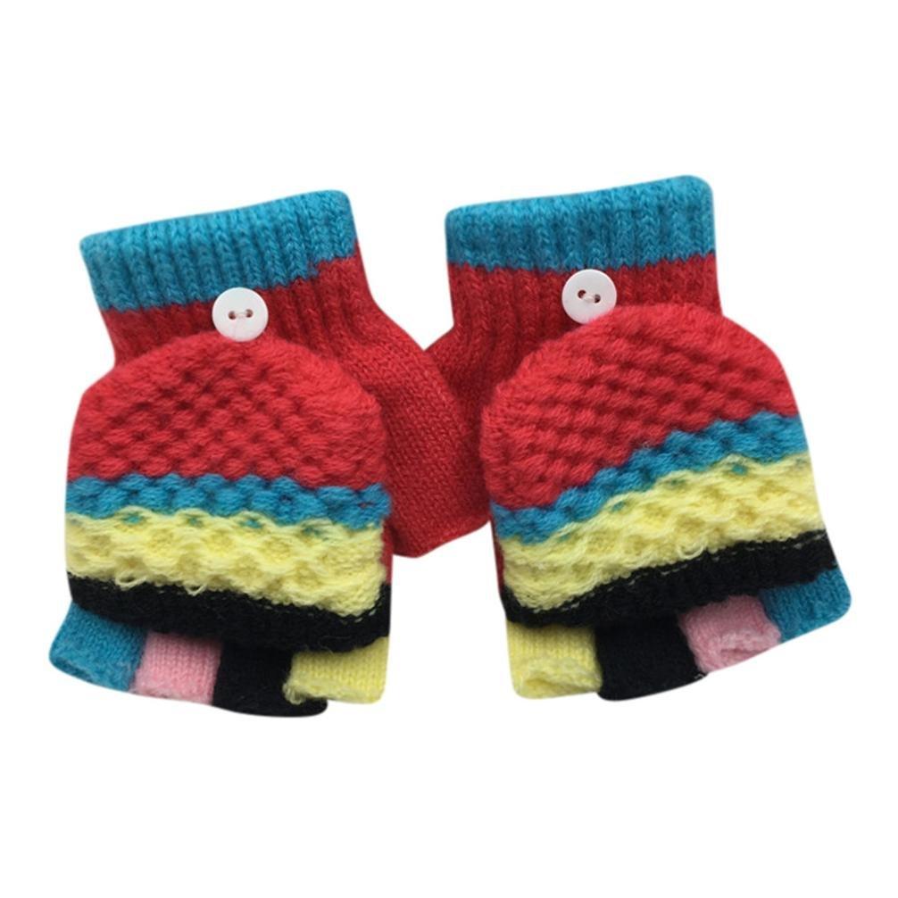 Fami-Toddler Baby Cute Colorful Addensare Patchwork Hot Girls Boys Of Winter Guanti caldi