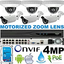 USG Business Grade H.265 4MP 2592x1520 6 Camera HD Security System : Ultra 4K 32 Channel Security NVR + 3x Dome 2.8mm & 3x Bullet Motorized 2.8-12mm Cameras + 1x 4TB HDD : Apple Android Phone App