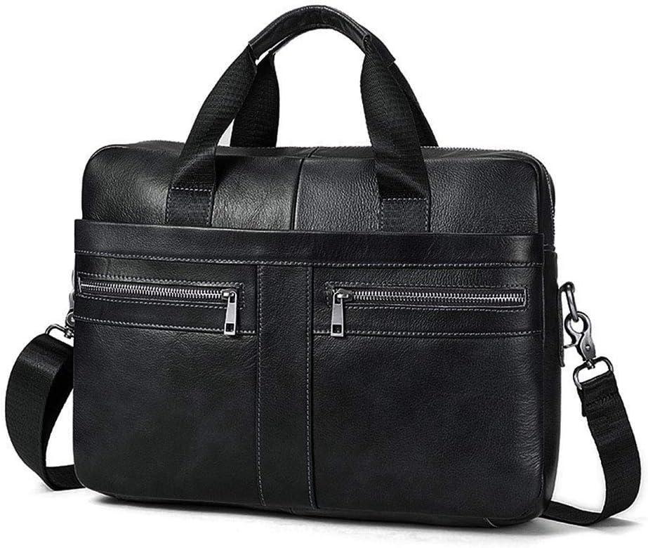BAIGIO Men's 14/15.6 Inches Laptop Briefcase Genuine Leather Business Satchel Handbag Shoulder Tote Bag for Men and Women (Black)