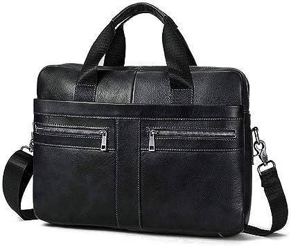 New Real Leather Men/'s Briefcase Handbag shoulder bag Satchel Black