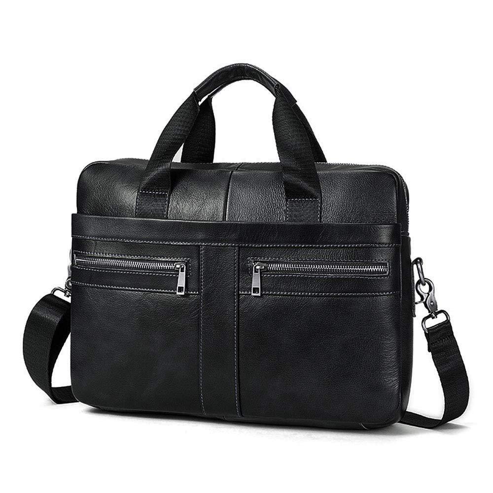 BAIGIO Men's 14'' Laptop Briefcase Genuine Leather Business Satchel Handbag Shoulder Tote Bag (Black)