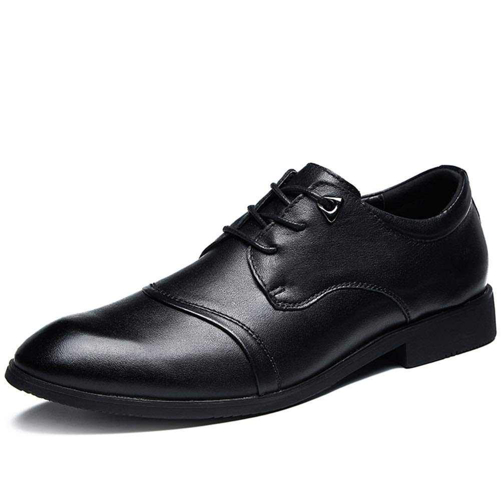 JUN Leather Oxford Plain Toe Classic Casual Comfortable Dress Shoes for Men Leather Slip-on Loafer Shoe Lightweight Walking Slip on Loafers Driving Shoes for Men (Color : Black, Size : 6.5 M US) by JUN