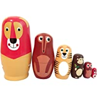 BAOBLADE Set of 6pcs Russian Wood Nesting Dolls Set Animals Lion Fox Matryoshka Hand Painted