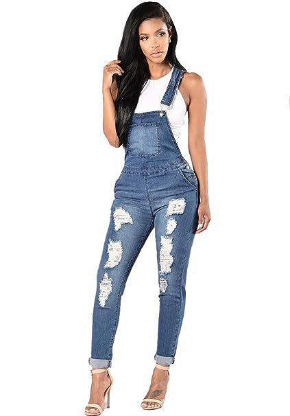 finest selection 7d016 0cd80 Donna Salopette in Jeans con Strappi Decorativi,TieNew Donne ...