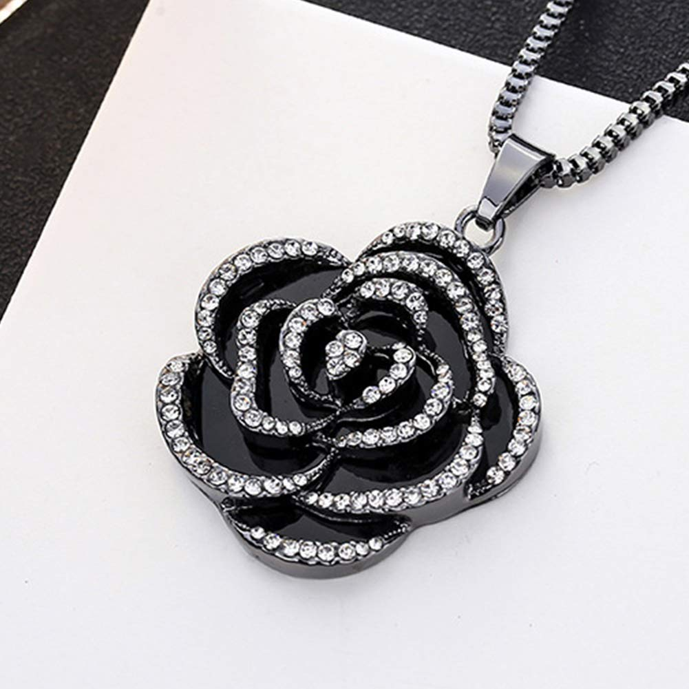 Topsaire Ladies Rhinestone Rose Red Sweater Necklace Fashion All Match Long Female Gift