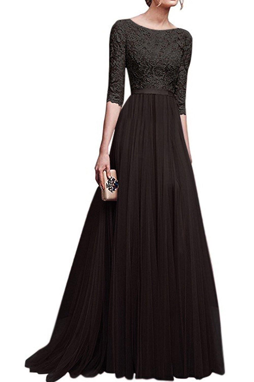 Musfeel Womens Prom Dress Lace Sheer Mesh Patchwork Long Swing Maxi Dresses