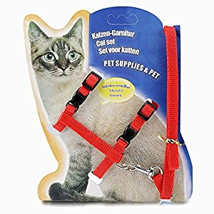 THE DDS STORE Cat Adjustable Nylon Harness Strap Collar with Leash Set Small Pet Walking (Red)