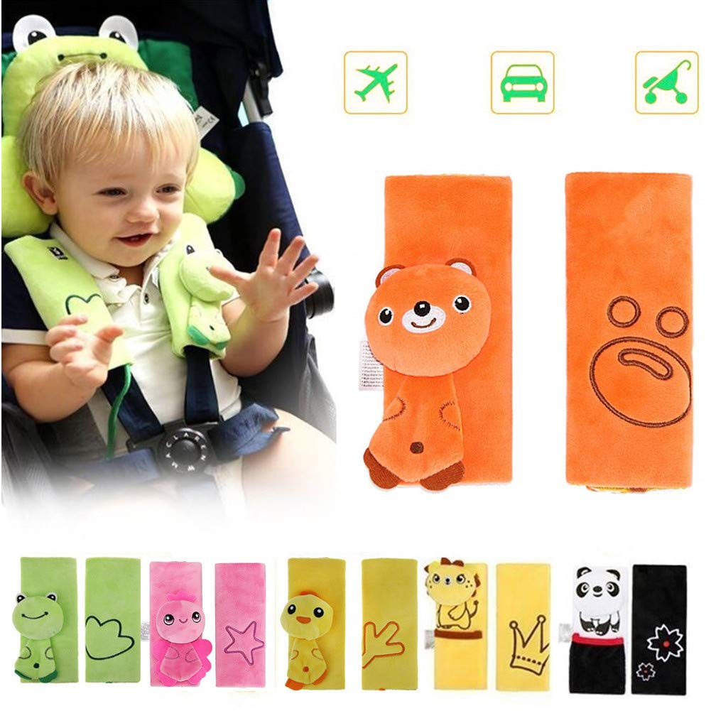 Double Sided Cartoon Animal Soft Seatbelt Strap Cover for Kids Infant Seat Belt Pad for Baby Carriage Car (Green Frog) Kuiji B032
