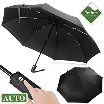 Paraguas de Viaje, brinch Auto Open/Close resistente al agua portátil Paraguas Plegable Compacto